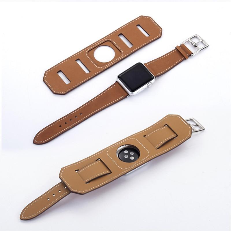 Luxury Genuine Double Layer Leather Band Bracelet Strap for Apple Watch