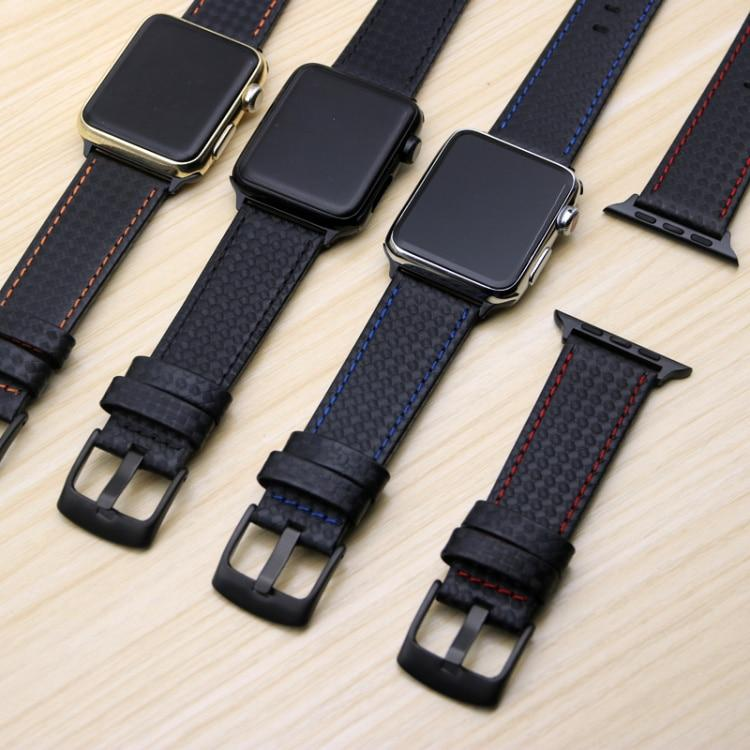 Luxury Leather Strap w/ Carbon Fiber for Apple Watch