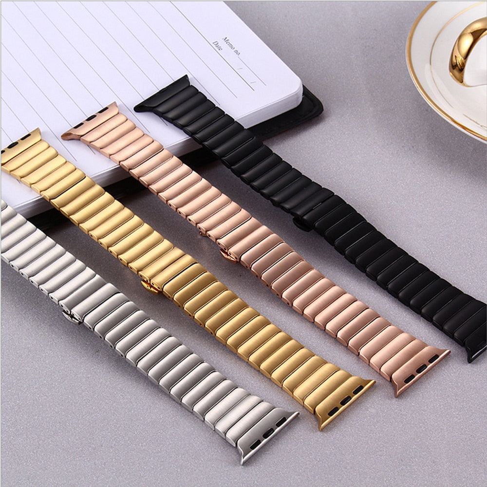 Stainless Steel Butterfly Buckle Ceramic Strap for Apple Watch