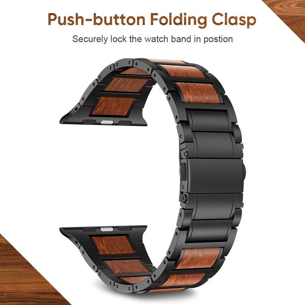 Stainless Steel Wood Strap for Apple Watch