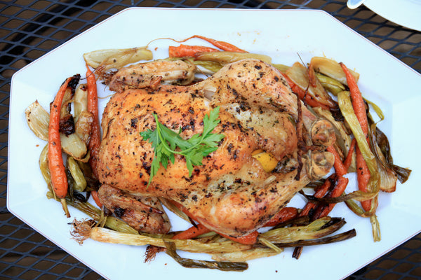 WHOLE ROASTED CHICKEN WITH SPRING VEGETABLES RECIPE - The
