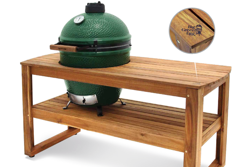 XLarge Big Green Egg + Hardwood Acacia Table Bundle