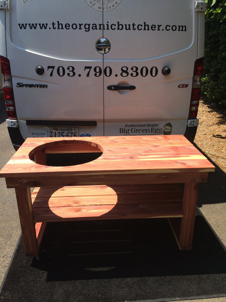 Big Green Egg Cedar Grill Table - For Large Egg