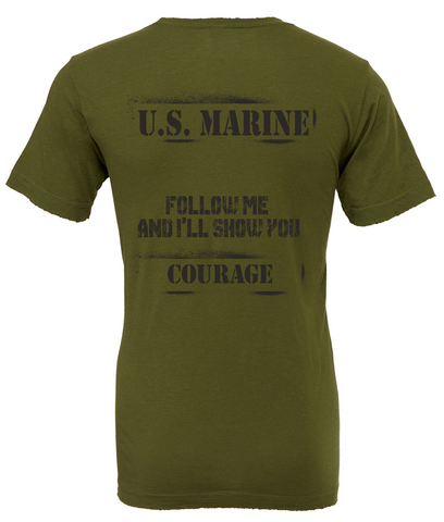 "PREORDER- USMC Tee ""COURAGE"" in PT Green"