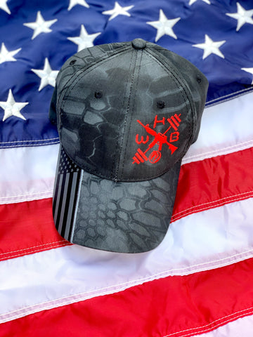 Kryptek American Flag WHB Logo Hat in Black