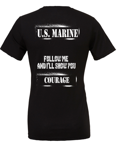 "PREORDER- USMC ""COURAGE"" Tee in Black"