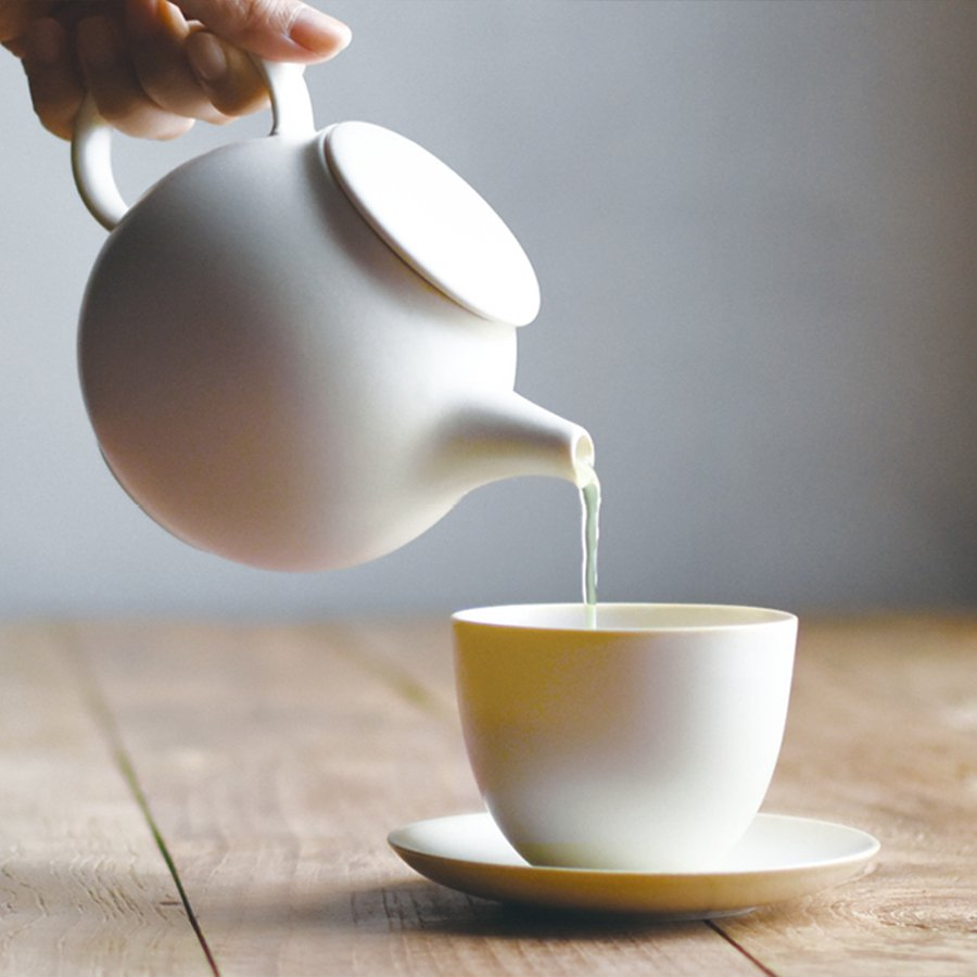 Japanese Porcelain Teapot with Stainless Steel Infuser | Kinto - PEBBLE