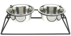 Pyramid Elevated Double Dog Feeder - Large-white