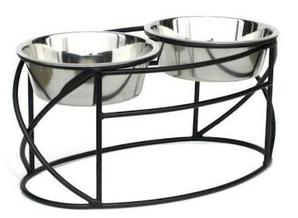 Oval Cross Double Raised Feeder - Medium-black