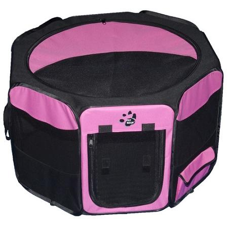 Travel Lite Soft-sided Pet Pen - Medium-pink