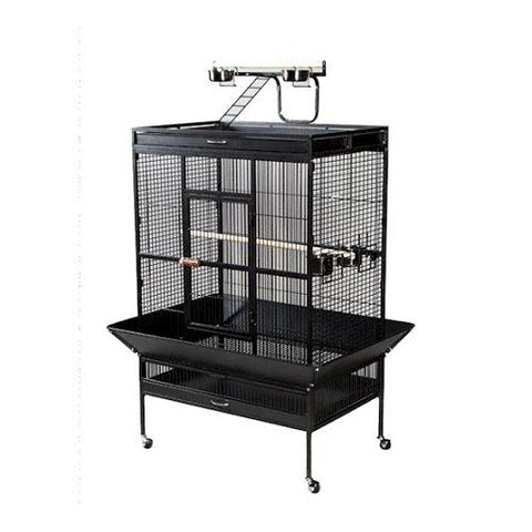 Select Wrought Iron Play Top Parrot Cage - Chalk White