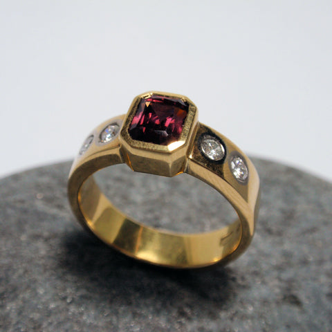 .18ct Pink Tourmaline and Diamond Ring
