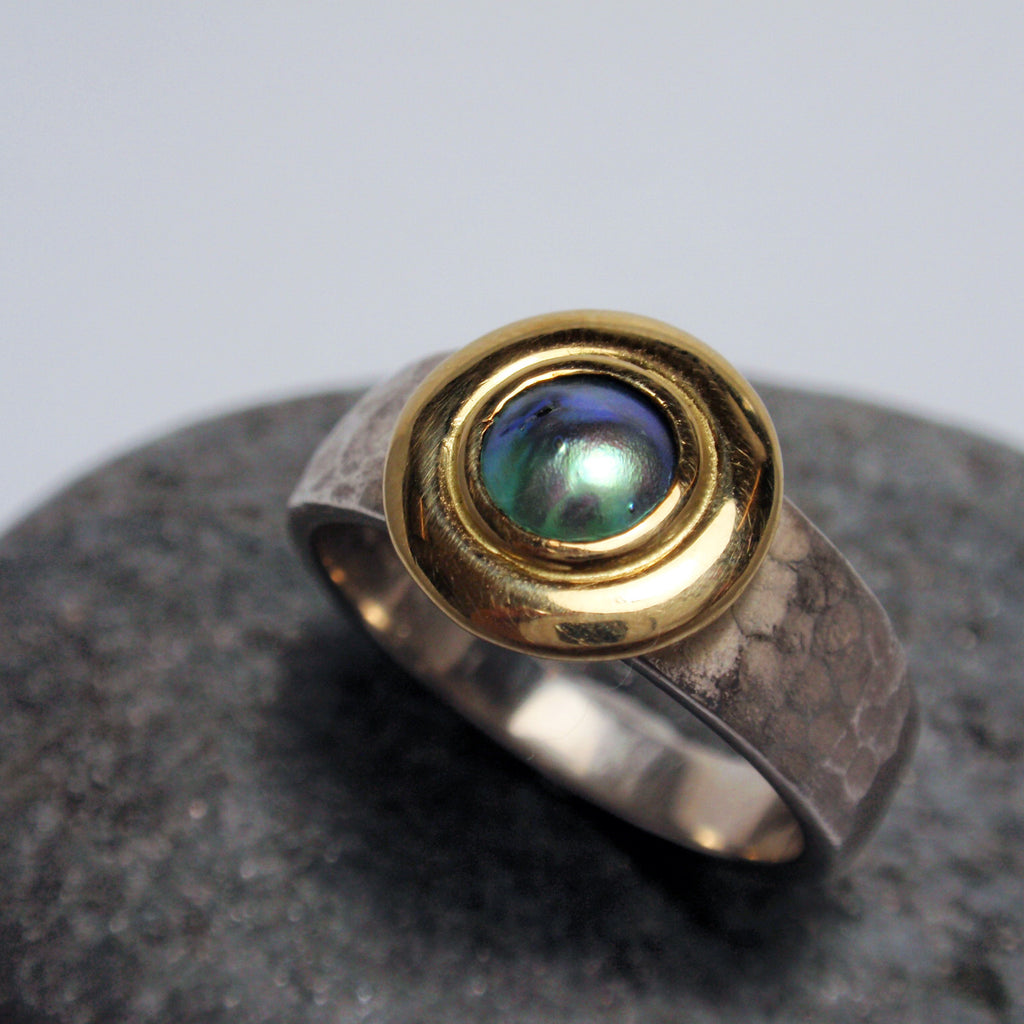 Silver and Gold Paua Ring