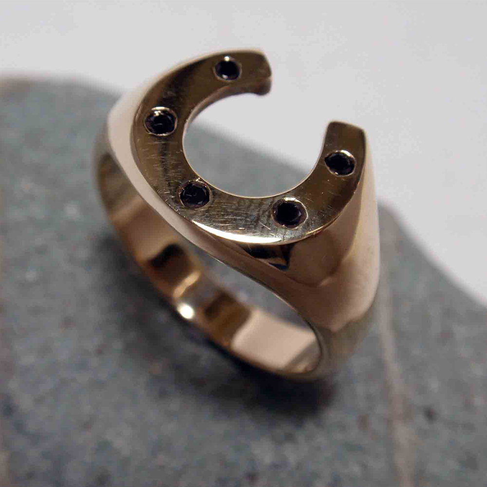 Horseshoe Ring with Black Diamonds