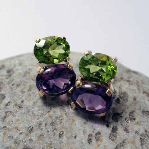 9ct, Peridot and Amethyst Studs