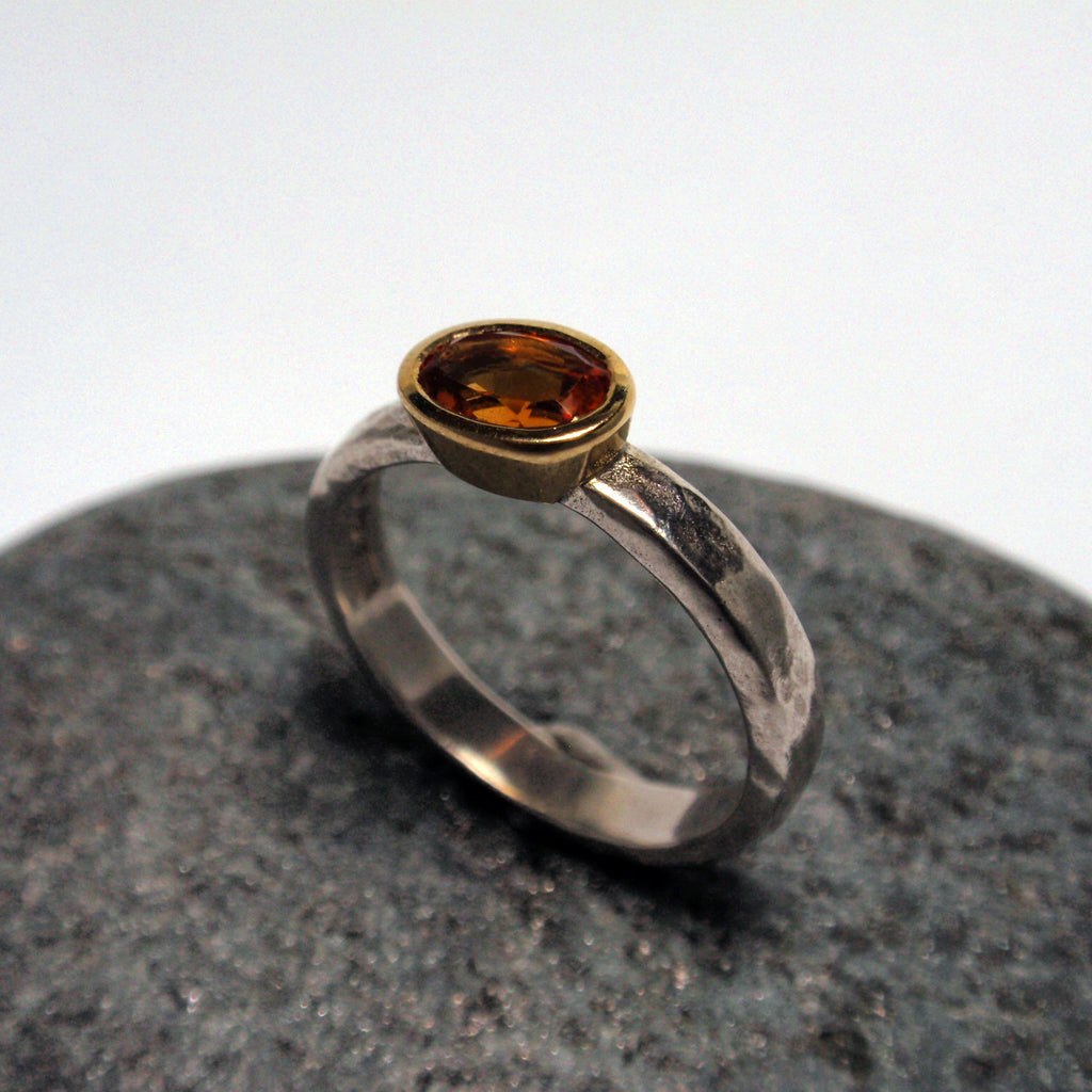 Martellato Hammered Citrine Ring
