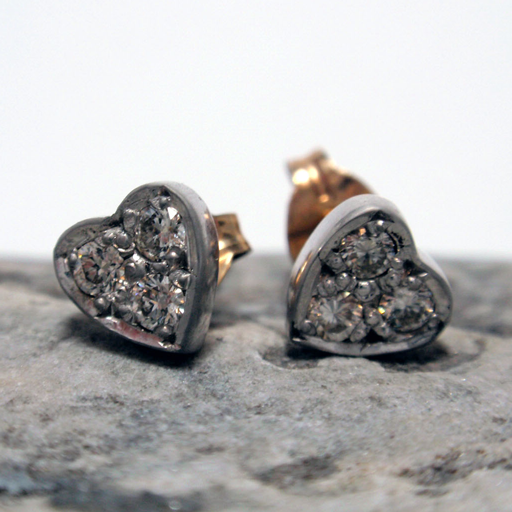 Diamond set Heart Shaped Studs