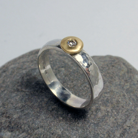Martellato Hammered Ring with Diamond Set disc