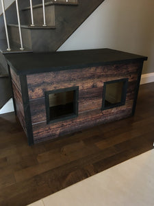 Printed wood cat litter box cover - Customizable Double Model