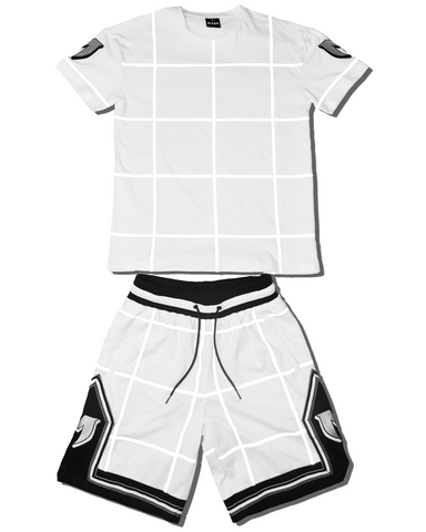 REFLECTIVE GRID TEE - WHITE