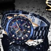Stainless Steel Dark Face Chronography Watch