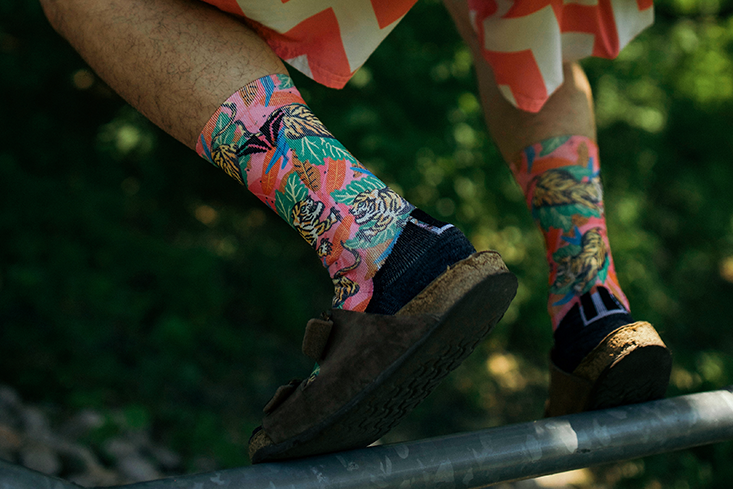 Pink Tiger Socks Creative Illustration Birkenstocks