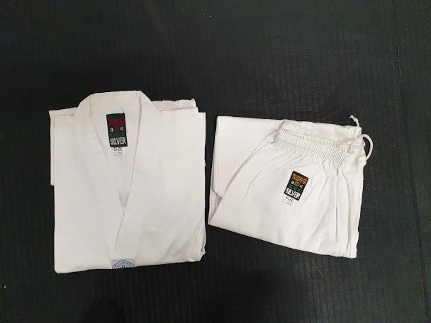 *CLEARANCE* Tushi silver TKD official plain cotton Gi - Hakutora