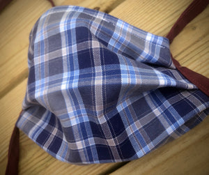 Blue plaid with green inside face covering with pocket for filter