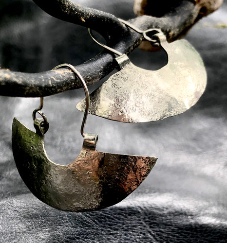 Hammered half moon Mapuche earrings