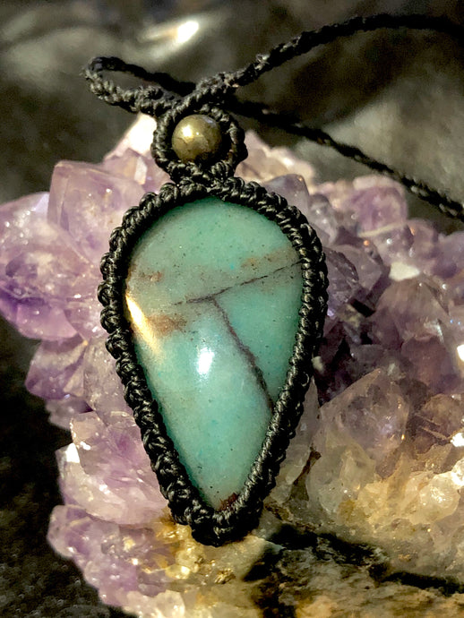 Amazonite with pyrite pendant