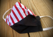Load image into Gallery viewer, REVOLUTION! Red/white stripes with black face covering with pocket for filter