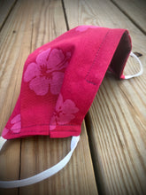 Load image into Gallery viewer, Red hibiscus print face mask with pocket for filter