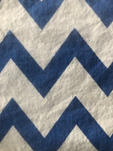 Blue chevron face covering with pocket for filter