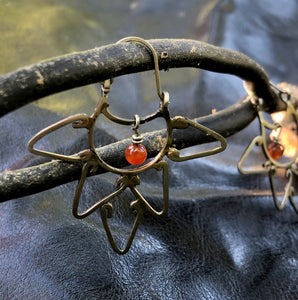 Half Mándala Carnelian earrings