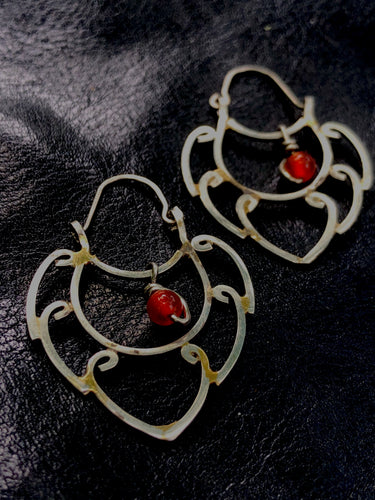 Downward shaped half Mandala Carnelian earrings