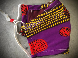 Malibongwe Purple/Red face covering with pocket for filter