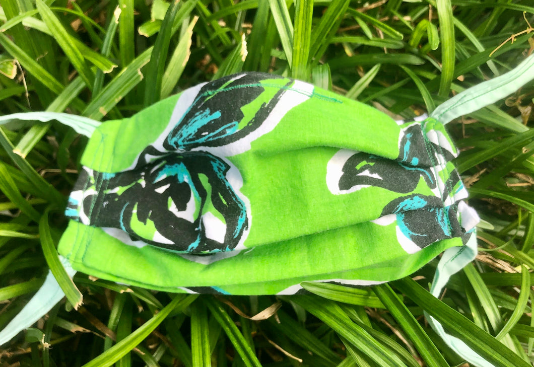 Green flower print with black/white stripes back adult mask with pocket for filter
