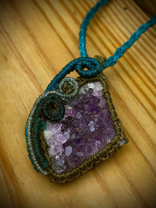 Raw Amethyst pendant necklace