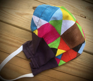 Organic cotton Colorful squares face covering with pocket for filter
