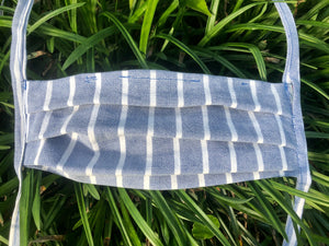 Oxford cloth blue and white striped mask with pocket