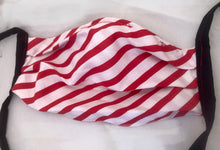 Load image into Gallery viewer, Red/white stripes face covering with pocket for filter