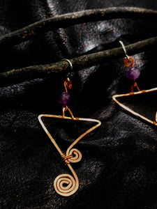 Copper triangles with amethyst earrings
