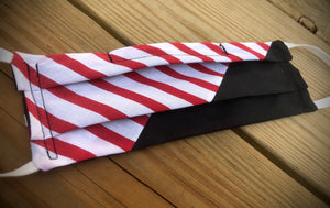 REVOLUTION! Red/white stripes with black face covering with pocket for filter