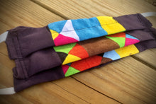 Load image into Gallery viewer, Organic cotton Colorful squares face covering with pocket for filter