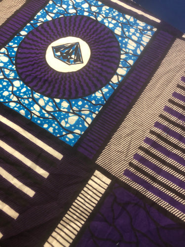 African Print Nhalahla Purple/Blue face covering with pocket for filter