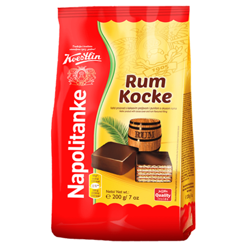 Rum Flavored Wafers w/Cocoa 200g (Koestlin)