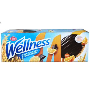 Wellness Whole Wheat w. Orange Coated w. Dark Chocolate  205g (Bambi)
