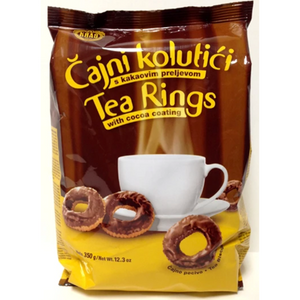 Chocolate Covered Tea Ring Biscuits Cajni Kolutici 350g (Kras)