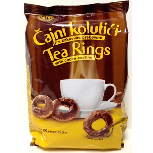 Chocolate Covered Tea Ring Biscuits / Cajni Kolutici Kakaovim 350g (Kras)