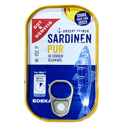 Skinless Sardines in Sunflower Oil 125g (Gut & Gunstig)